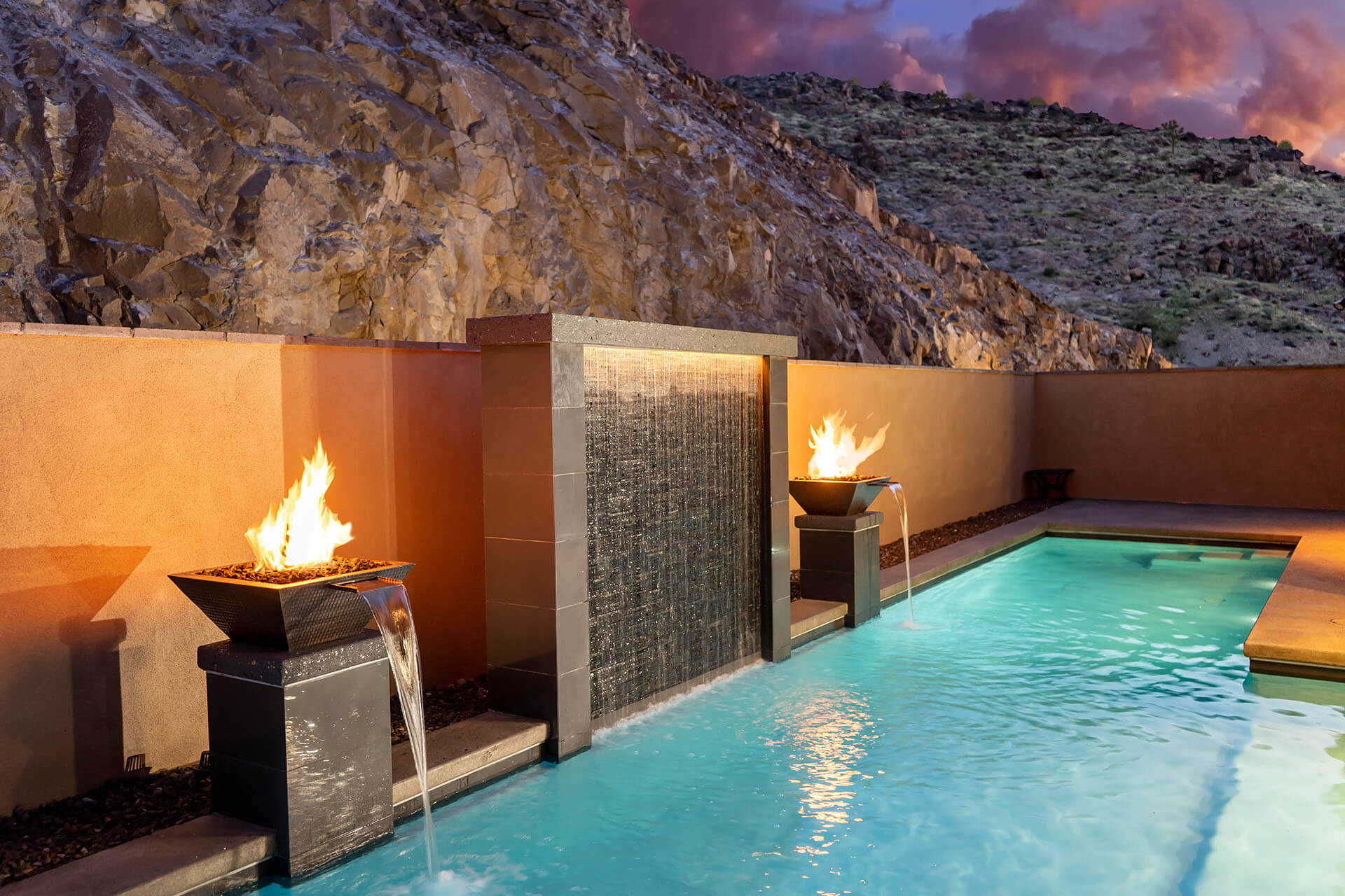 Custom Water-Wall Waterfall with dual flanking Water and Fire Bowls