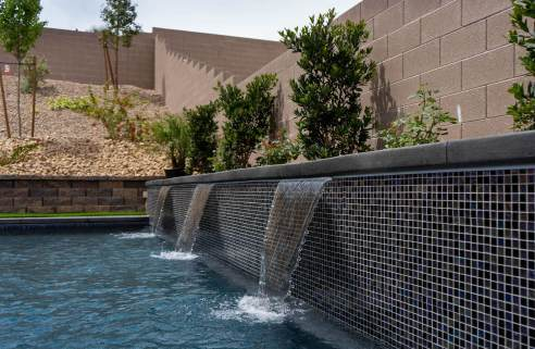 Custom Water Wall Feature with Triple Fountain Water Outlets - Clarity Pool Service of Las Vegas, Nevada