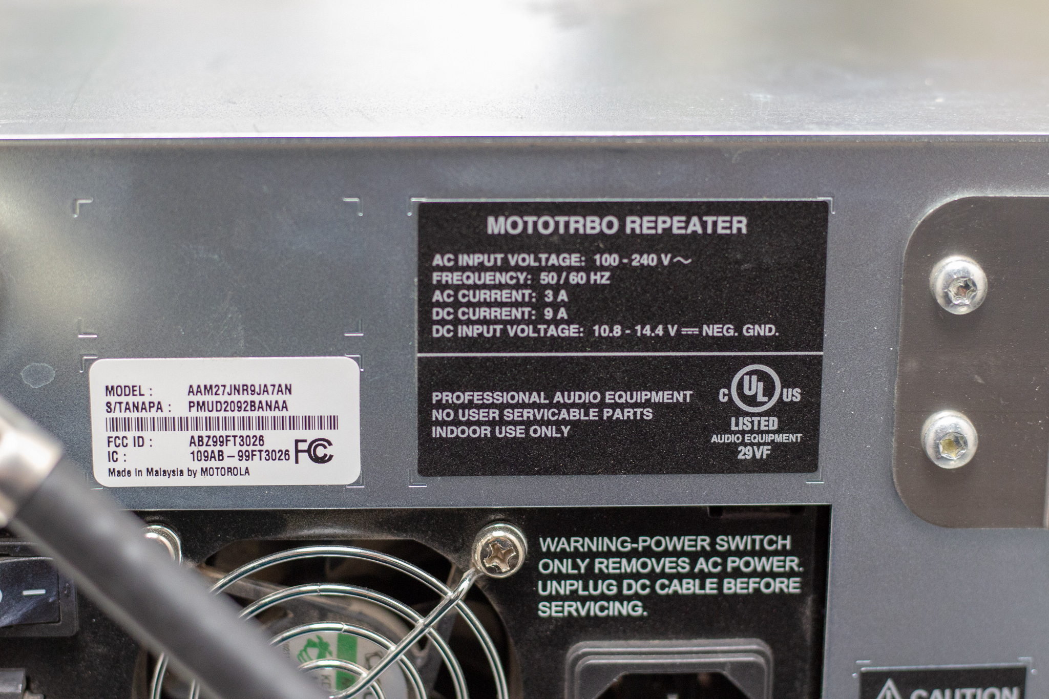 Motorola XPR 8300 Repeater and Sinclair Q202GC 4 Cavity