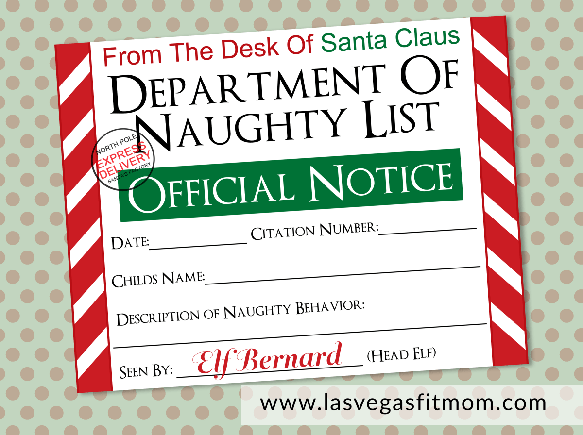 Naughty-List-Notice-1 Official Letter From Santa Template on writing paper, for word,