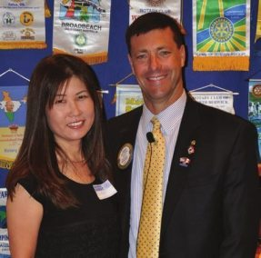 David Thorson and wife Chieko pose for a photo opp.