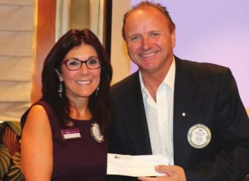 Francesca Gilbert gave her craft talk and presented Jim Hunt with a check for the upcoming Santa Clothes Event