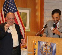 DG de Sylva presented Star pin Awards to Deb Granda, Jaime Goldsmith, Stu Lipoff and President David Thorson.
