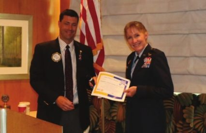 President Dave presents our speaker Brigadier General Jeannie M. Leavitt the commander of the 57th Wing at Nellis AFB.