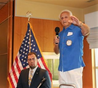 Jerry Engel split our membership into two singing groups. God Bless America and the Star Spangled Banner.