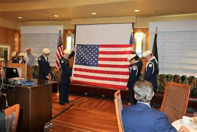The closing moments of the folding and retirement of our flag by the Color Guard.