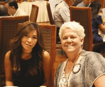 Janice Lencke enjoys lunch with her boss Rene Kim.