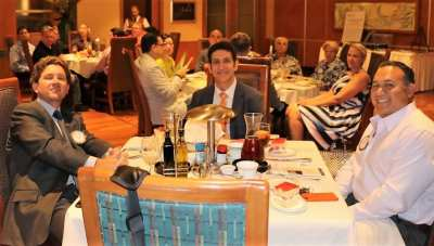 Seated at president Kohl's head table from L to R were Matt Nelson, our speaker Dr. Marwan Sabbagh and Rich Robledo.