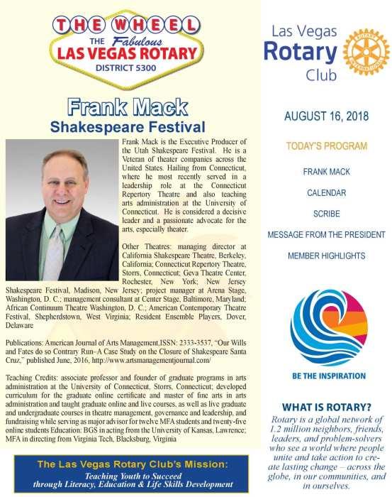 The Wheel for August 16, 2018 - Las Vegas Rotary Club