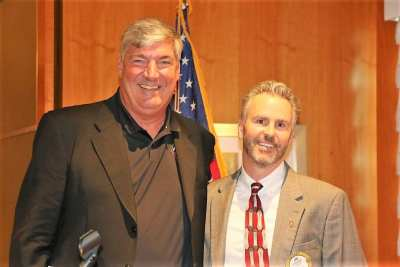 "President Jim presented our speaker Bill Laimbeer with our ""Share What You Can Award""."