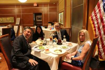 Seated at President Jackie's Head table were our speakers Jim Puzey and Audrey Damonte along with Glenn Meier and the Pres.