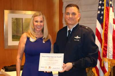 "President Jackie presented our speaker General David Snoddy with our ""Share What You Can Award""."