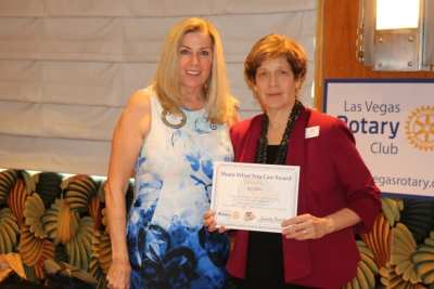 "President Jackie presented our speaker Kat Miller of Nevada Department of Veteran Services with our ""Share What You Can Award""."