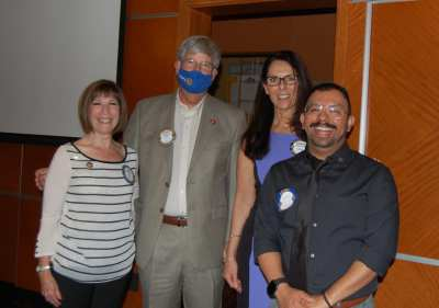 Induction of New Member Alberto Angulo with President Richard Jost, Toni Kern and Rosalee Hedrick.