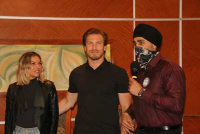 SAA Bhavan Singh is in the Stanley Cup playoff spirit introducing a local hockey star and his wife as guests
