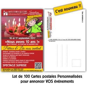Carte postales personnalisées pour les événements à LA TABLE à RALLONGE