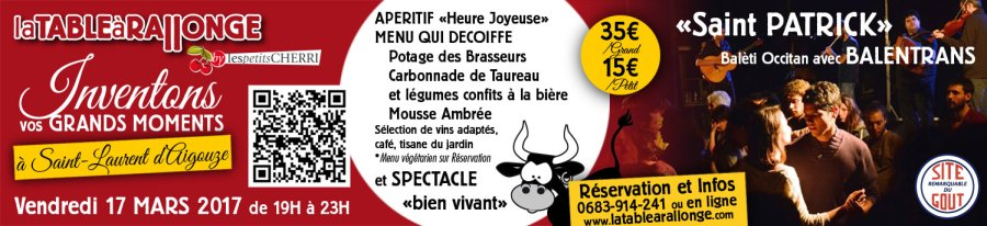 Diner-spectacle et soirée traditionnelle occitane et dansante avec les BALENTRANS à la TABLE à RALLONGE.