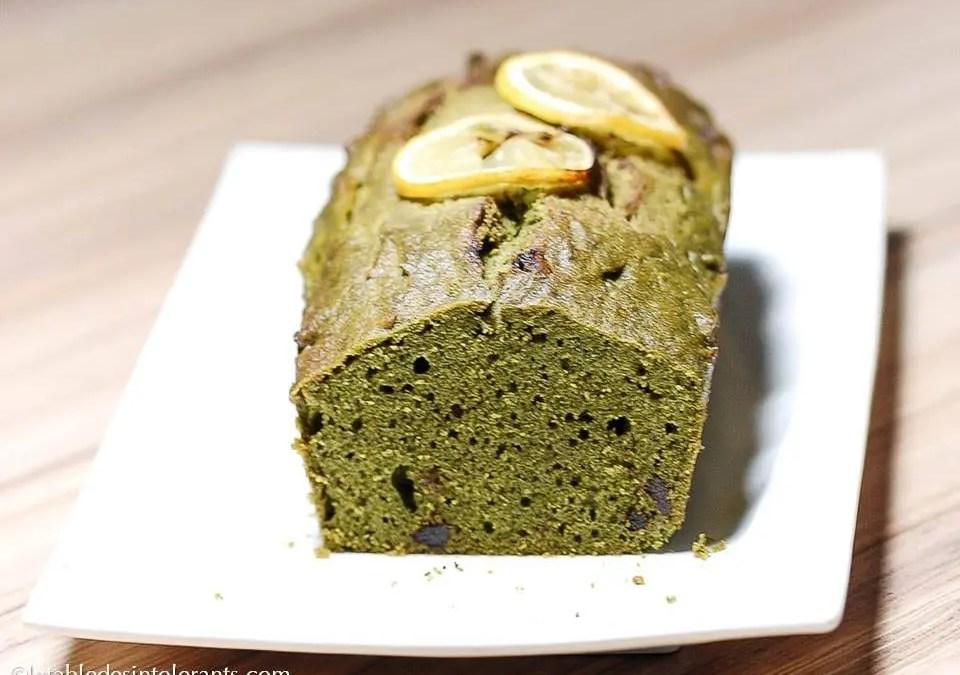 CAKE AU THÉ MATCHA sans gluten, sans lait, sans sucre, sans levure
