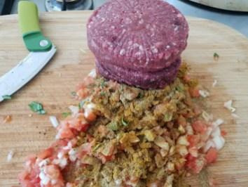 5/ajoutez la viande de bœuf et mélangez haché