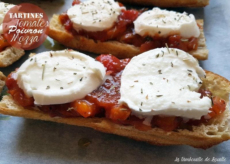tartine-facile-tomate-poivron-mozza