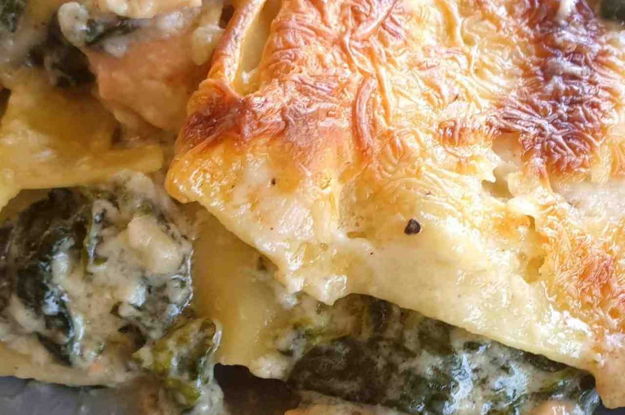 Lasagnes épinards, saumon et Saint Agur