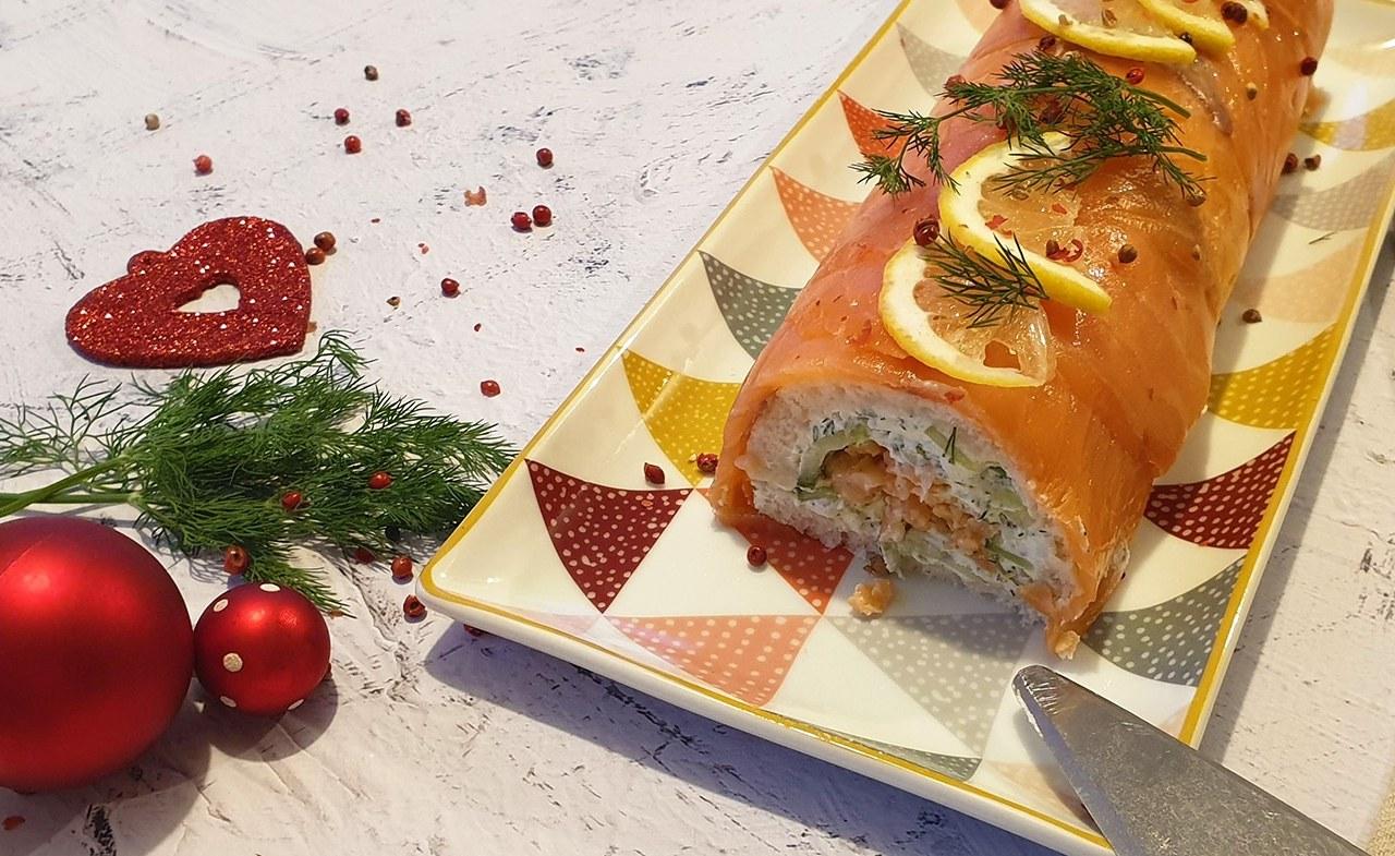 Bûche Noël Chèvre Saumon