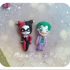 Il Magico mondo di Ploppi - Ciondoli in fimo Joker e Harley Quinn