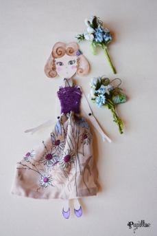 Pupillae Art Dolls - Bambola di carta segnaposto per Pasqua