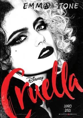 Cruella: blanco sobre negro