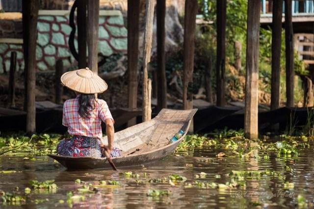 Myanmar Lago Inle donna alla guida