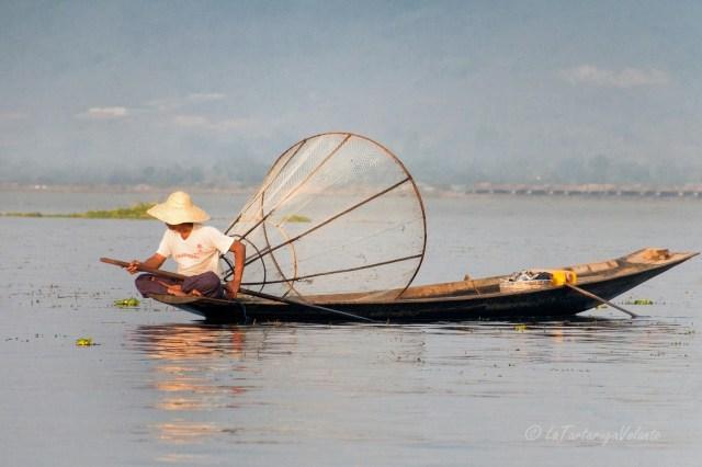 viaggio in Myanmar, Lago Inle pescatore con cesta