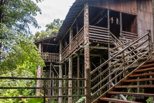 Borneo, lunghe scale longhouse