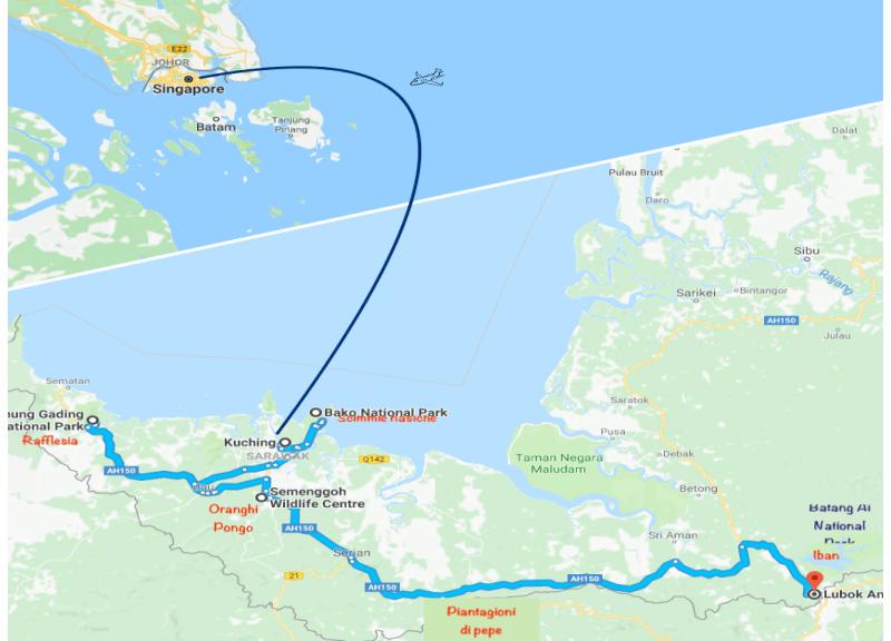 itinerario viaggio Singapore Borneo