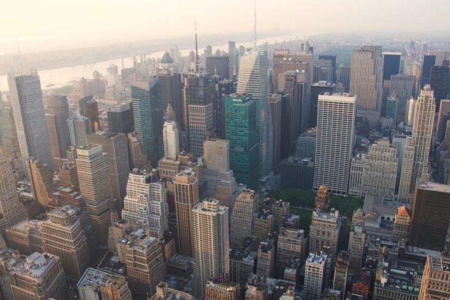 New York dall'alto al tramonto
