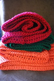 coral + hunter + sweet red cowls