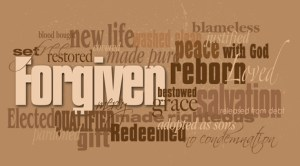 Graphic montage illustration of the Christian concept of forgiveness composed of associated words and concepts. An inspirational contemporary design available as vector.