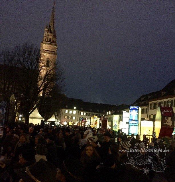 lantern exhibition on Münsterplatz in the evening