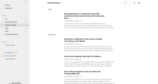 Feedly est un aggrégateur de flux RSS qui te permet de faire une veille marketing digital efficace.