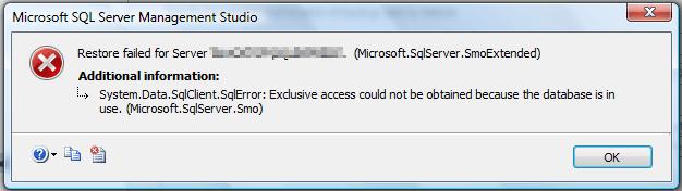 restore SQL error