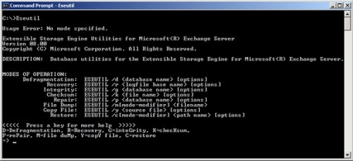 eseutil database recovery command