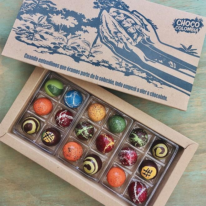 18 bombones de chocolate artesanales con rellenos de fruta natural