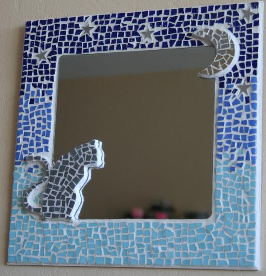 Miroir En Mosaique De Chat Au Clair De Lune