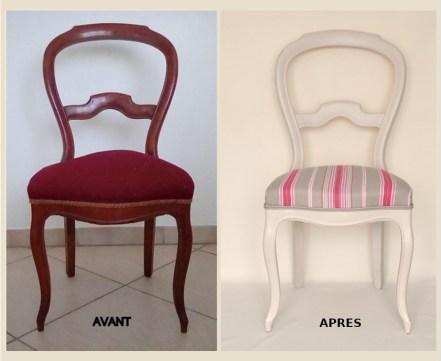 Chaise beige avant après