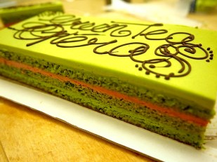 Green tea Opéra with green tea ganache & raspberry buttercream