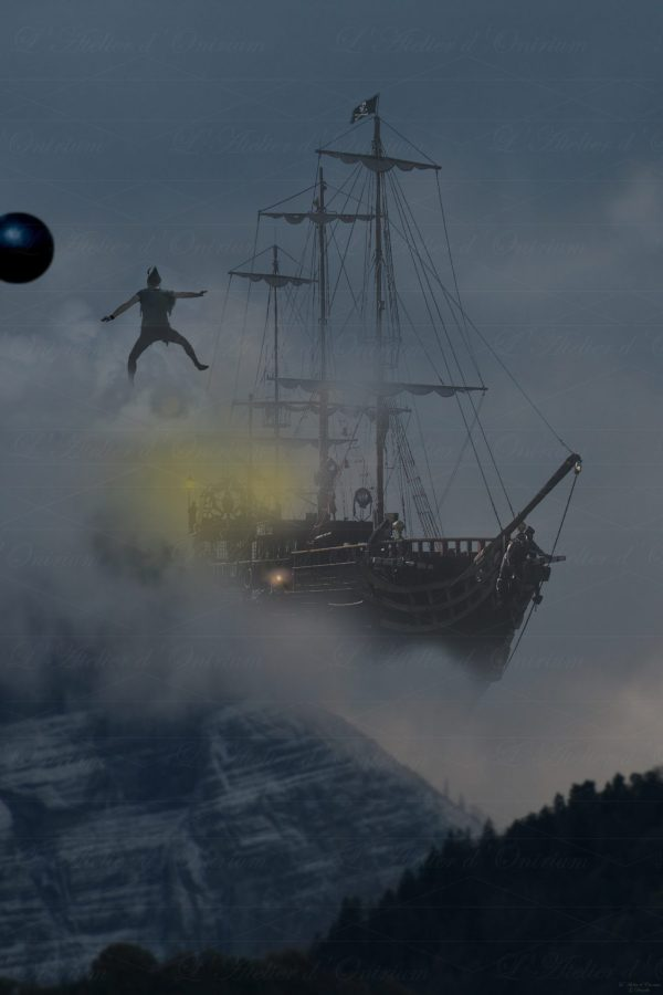 Photo fantastique peter pan bateau pirate montagne canon