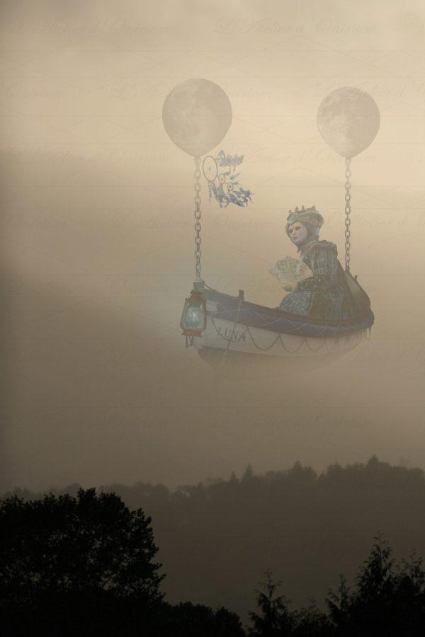 Barque volante fantastique vénitienne ballons lune brouillard