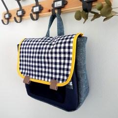 Cartable maternelle vintage carrés bleus Vichy