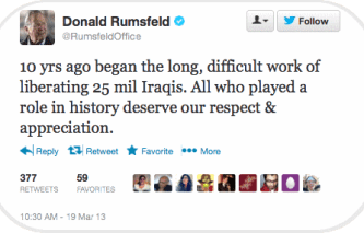 Iraq War_Perpetrators_Rumsfeld,Donald_10 yr. anniv. tweet