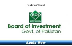 Jobs in Prime Minister Office Board of Investment Islamabad 2020 Apply Now