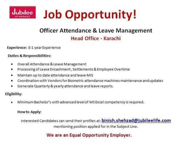 Jobs in Jubilee Life Insurance Karachi 2020